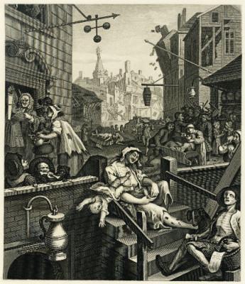 Gin Lane, obra de William Hogarth. // Imagen: Especial