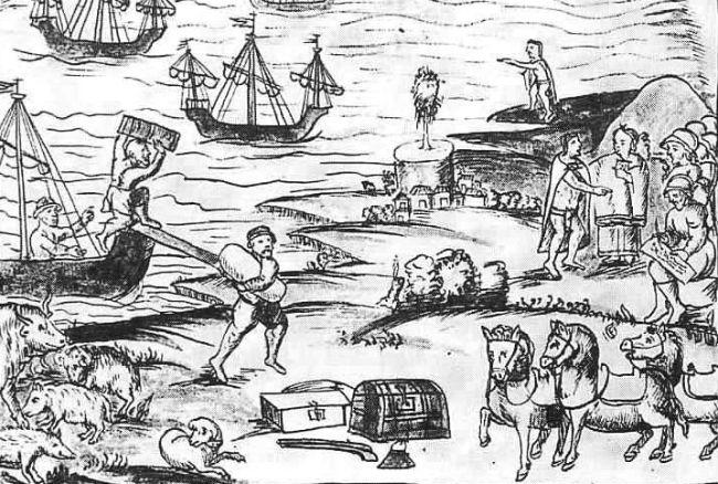 Con los españoles llegaron los caballos y los deliciosos cerdos.