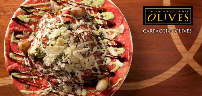 Olives by Todd English tiene muy buenas opciones, entre las que destacan el carpaccio (de res y de . Foto: Cortesía.