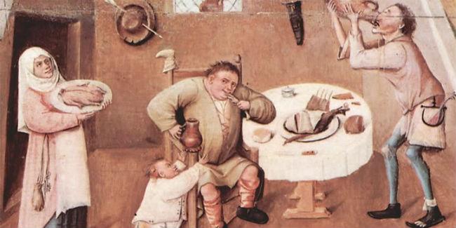 """La gula es uno de los siete pecados de acuerdo con la lista hecha por el papa Gregorio Magno.  // Imagen: Fragmento de """"La mesa de los pecados capitales# de Hyeronimus Bosch."""