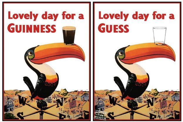 """""""Este cartel de (la marca de cerveza) Guinness es un tributo a mi amigo Lolo, quien me hizo descubrir los mejores bares en París"""", aclara Coulet. """"Conozco a personas que no pueden comer gluten por razones de salud. Les mostré mi trabajo y se rieron""""."""