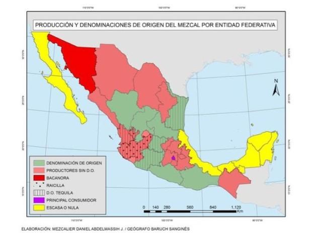 Mapa elaborado por el mezcalier Daniel Abdelmassih.