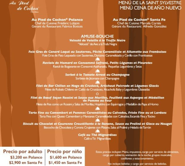 Zacatecas Restaurant Menu