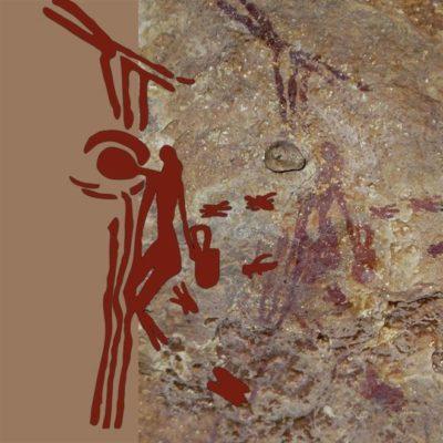 El dibujo muestra a un humano colgado de unas lianas metiendo la mano en un panal para recolectar miel de abejas silvestres.