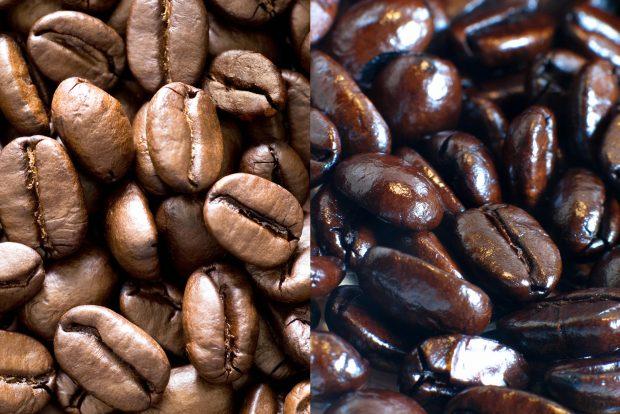 A la izquierda, café de especialidad bien tostado. A la derecha, café con torrefacto
