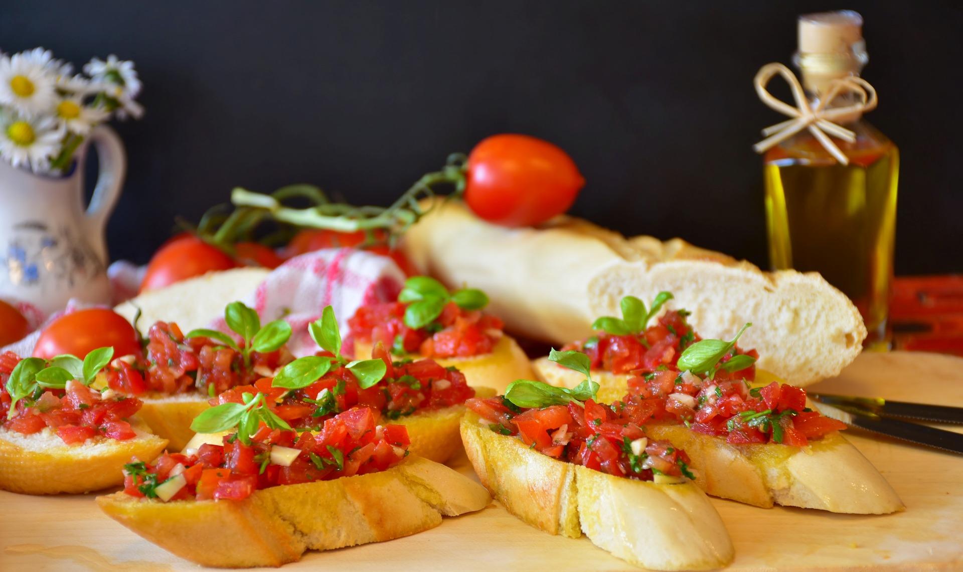 Bruschettes de la comida italiana