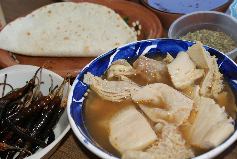 Pancita o menudo, comida de Jalisco.