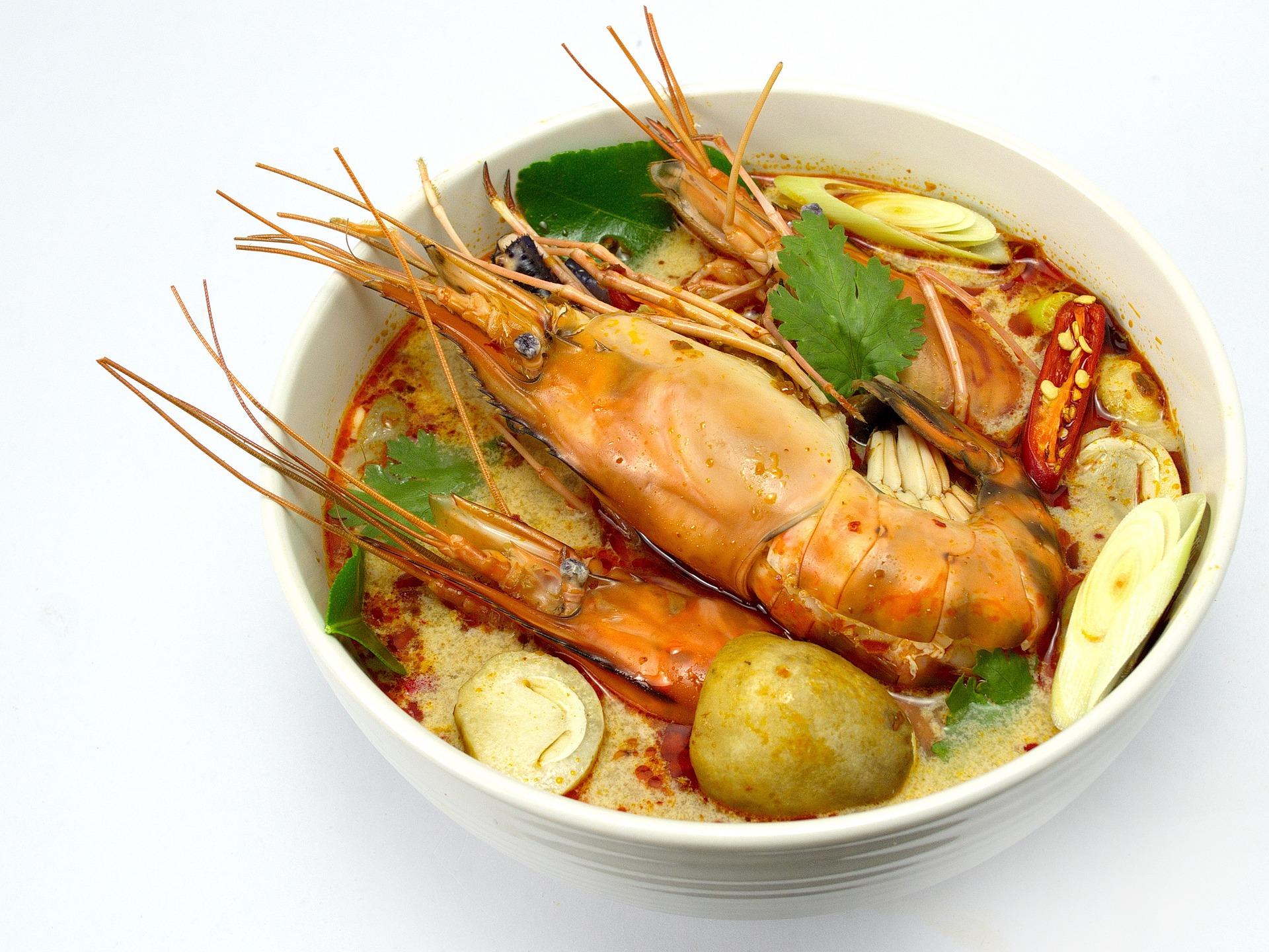 Tom Yum de la cocina tailandesa.