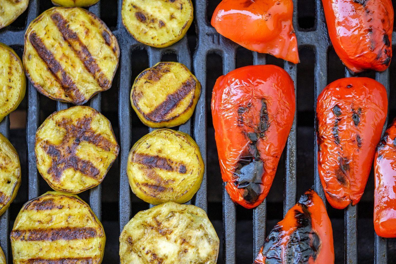 vegetales carne asador alimentos ahumados