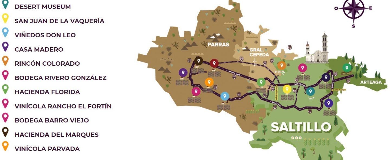 rutas del vino mexico mapa coahuila